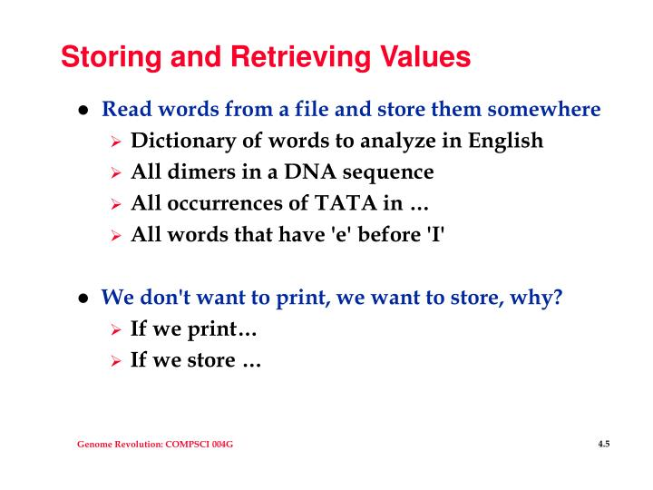 Storing and Retrieving Values