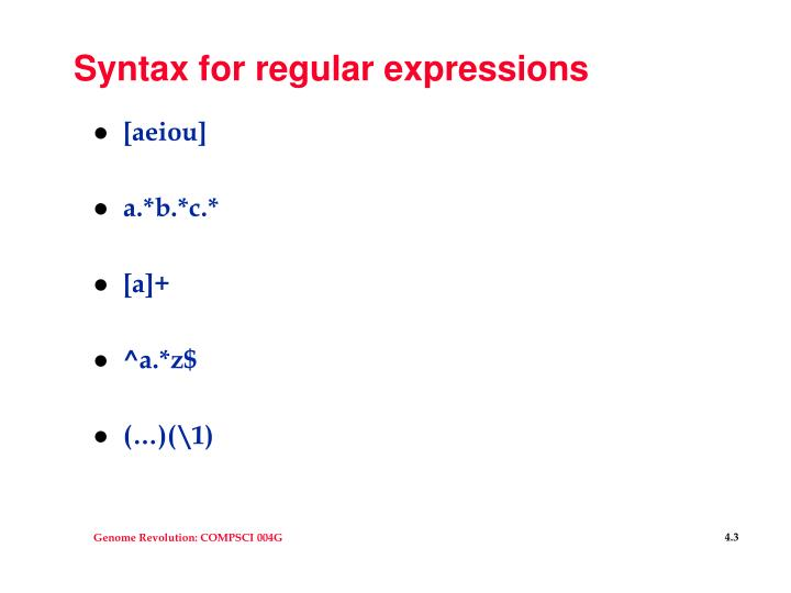 Syntax for regular expressions