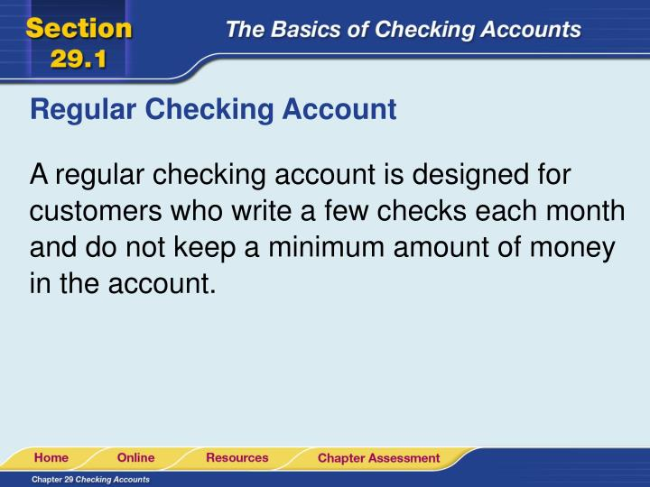 Regular Checking Account