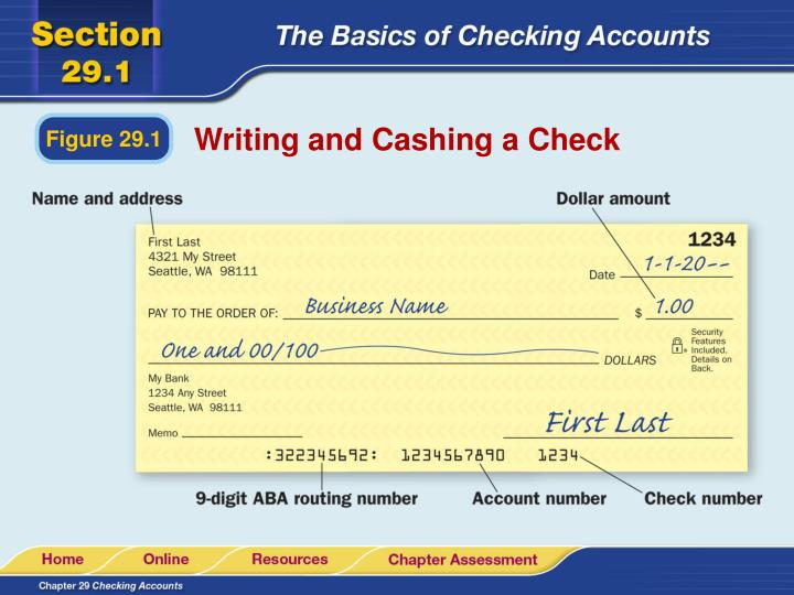 Writing and Cashing a Check