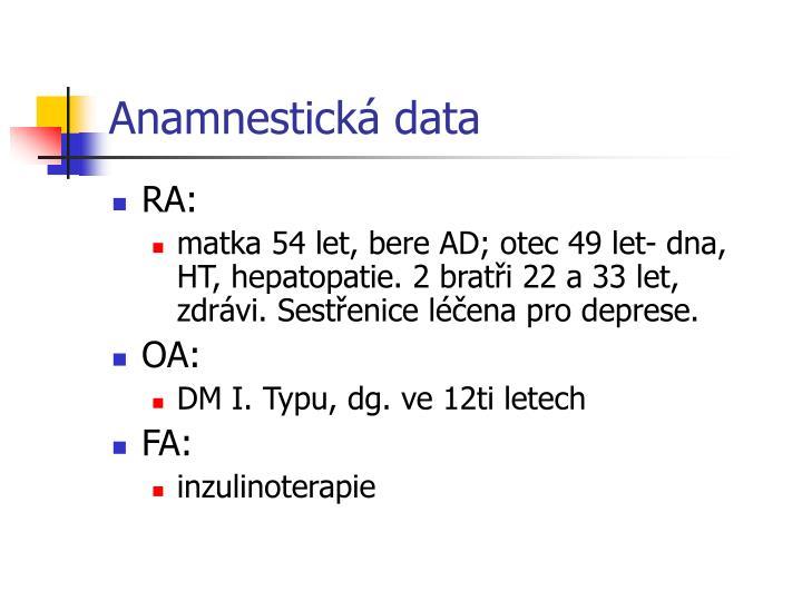 Anamnestická data