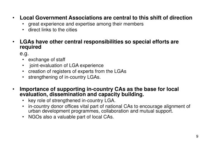 Local Government Associations are central to this shift of direction