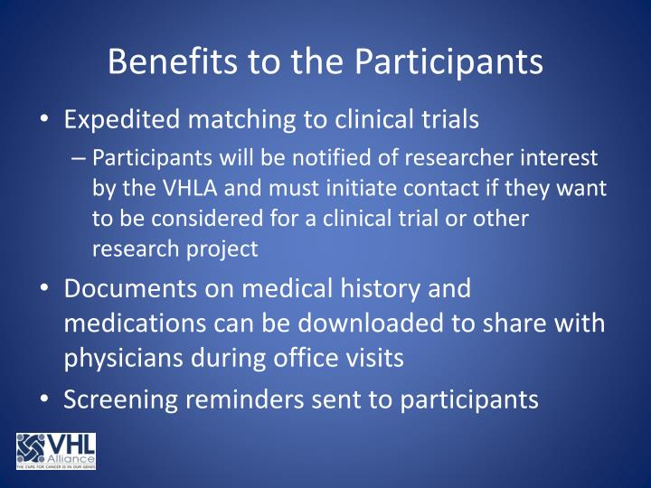 Benefits to the Participants
