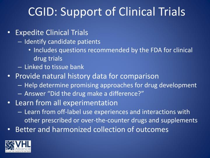 CGID: Support of Clinical Trials