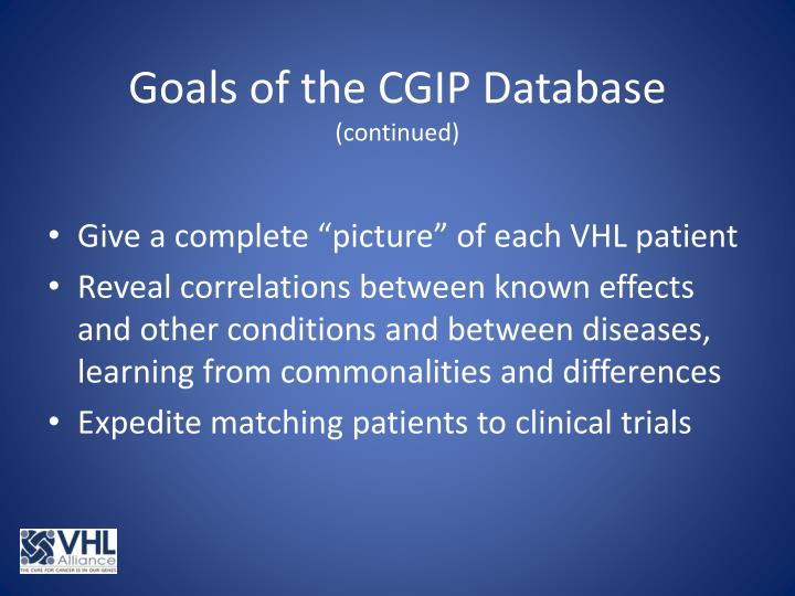 Goals of the CGIP Database