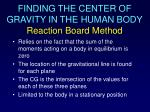finding the center of gravity in the human body reaction board method