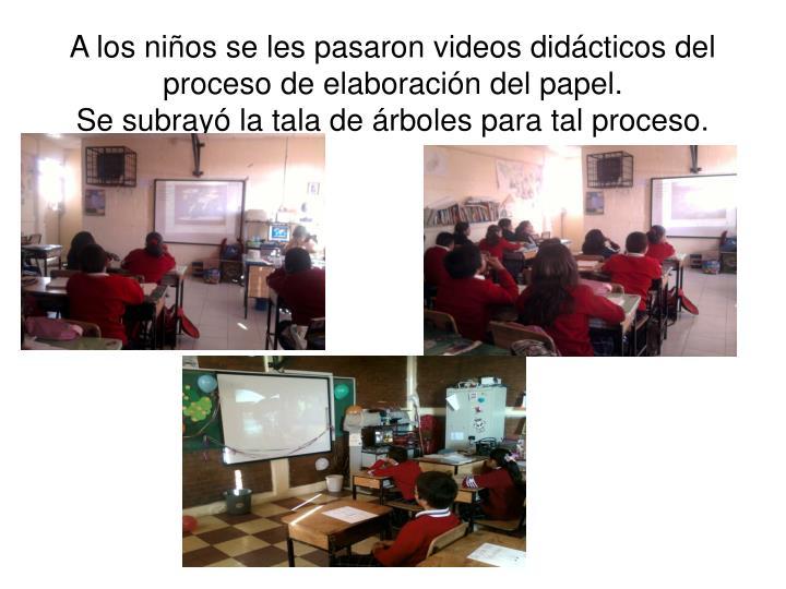 A los niños se les pasaron videos didácticos del proceso de elaboración del papel.