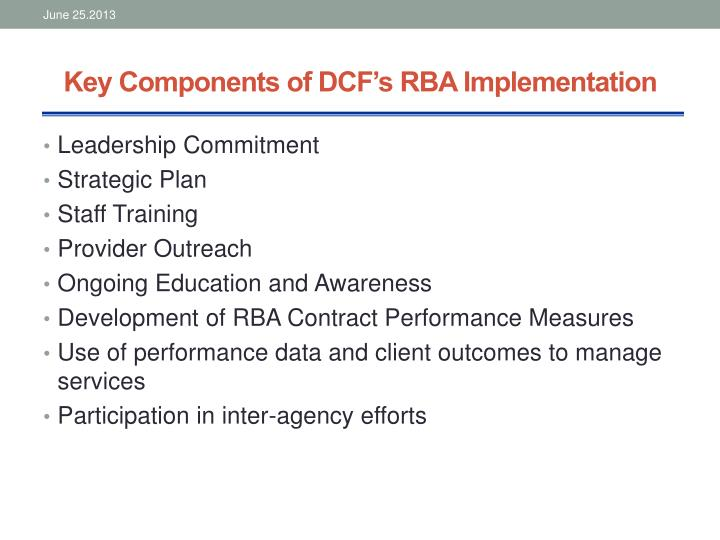 Key Components of DCF's RBA Implementation