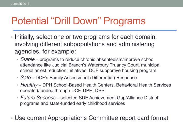 "Potential ""Drill Down"" Programs"