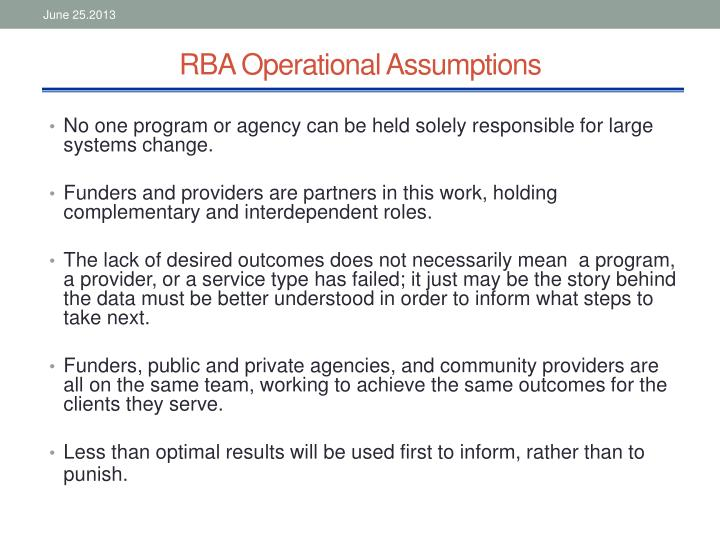 RBA Operational Assumptions