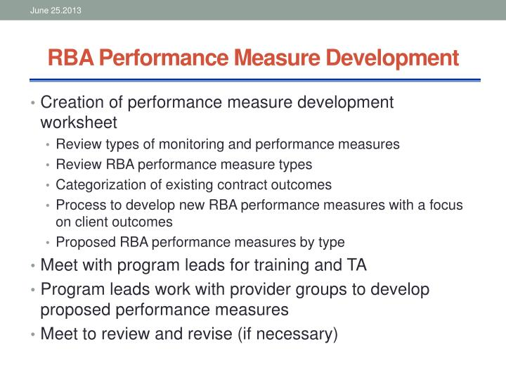 RBA Performance Measure Development