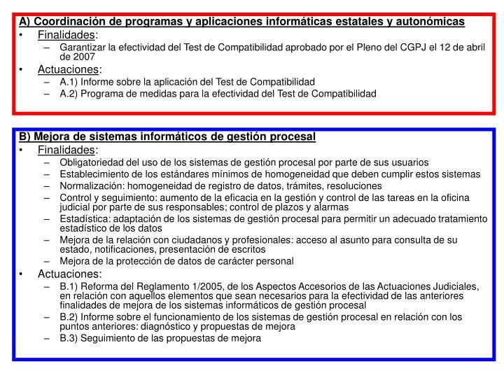 A) Coordinación de programas y aplicaciones informáticas estatales y autonómicas