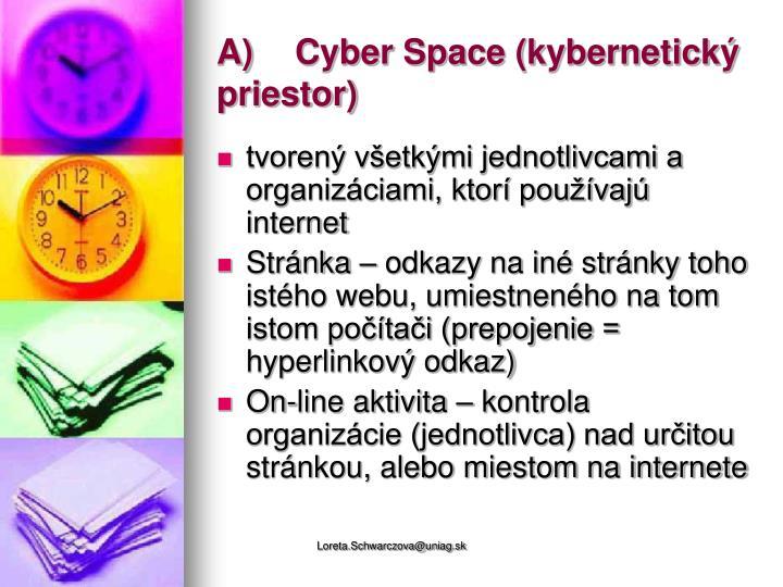 A)Cyber Space (kybernetický priestor)
