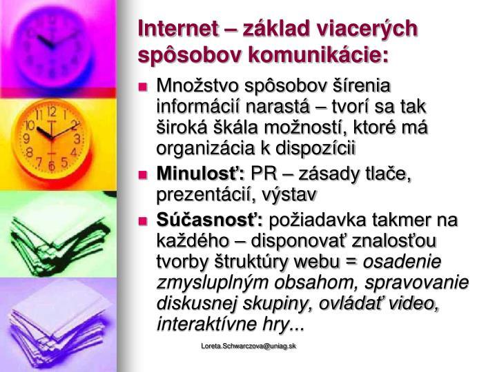 Internet – základ viacerých spôsobov komunikácie: