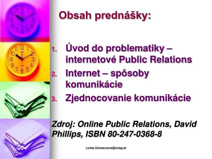 Obsah prednášky: