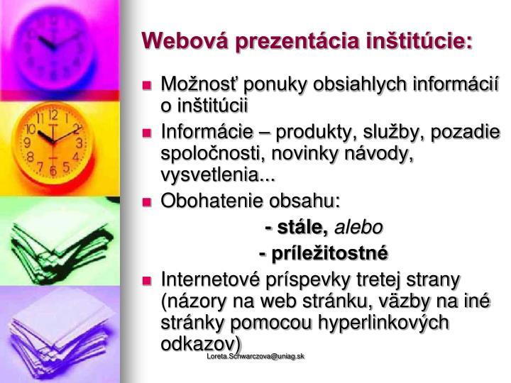 Webová prezentácia inštitúcie: