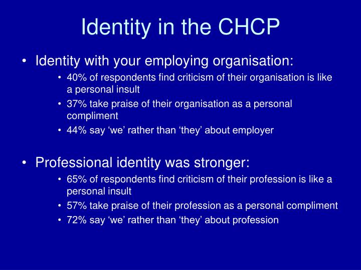 Identity in the CHCP