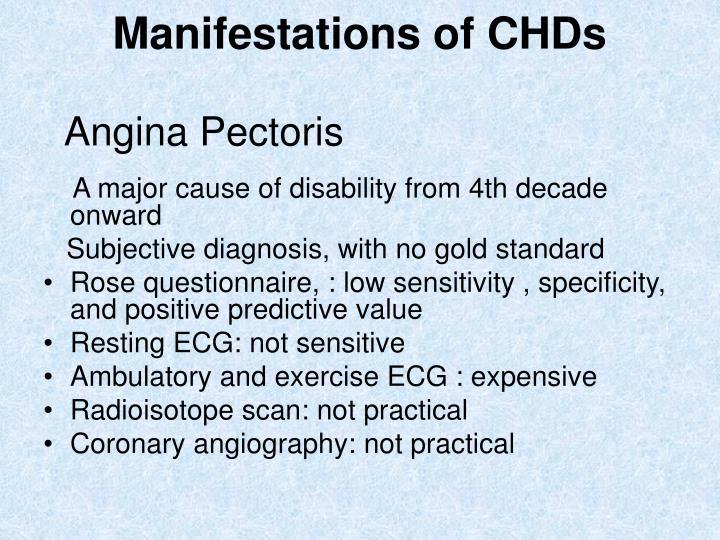 Manifestations of CHDs