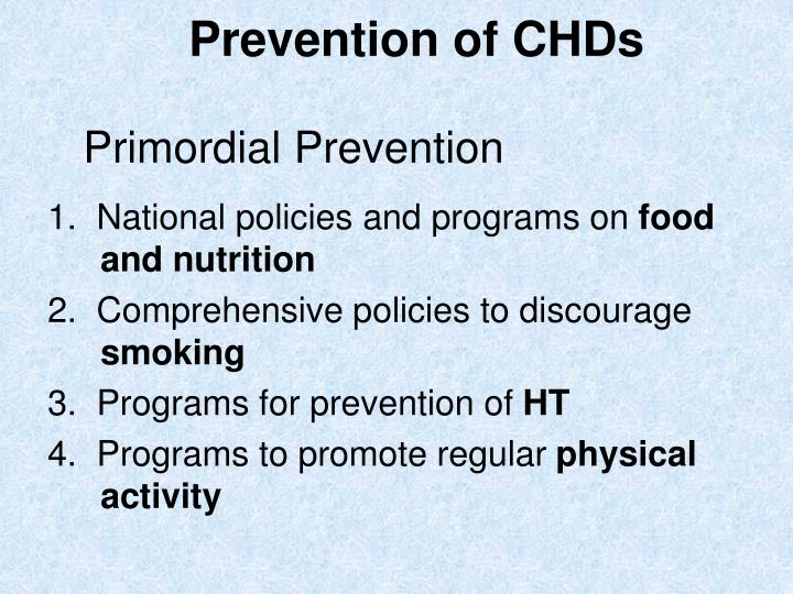 Prevention of CHDs