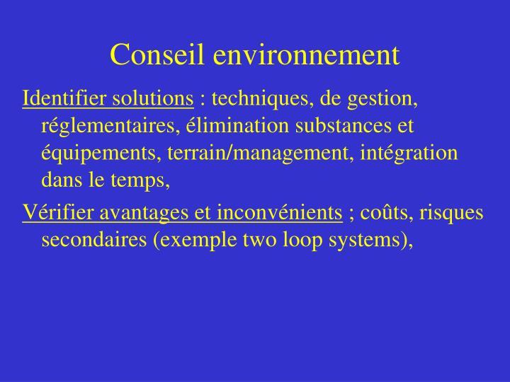 Conseil environnement