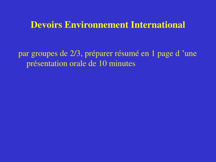 Devoirs Environnement International