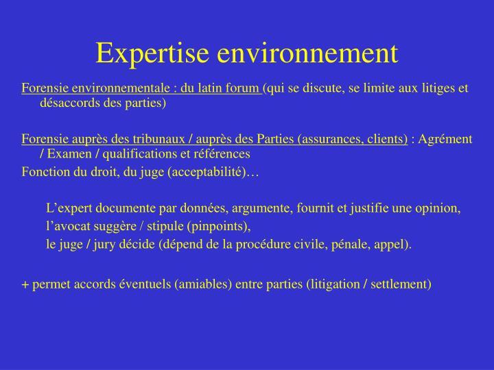 Expertise environnement