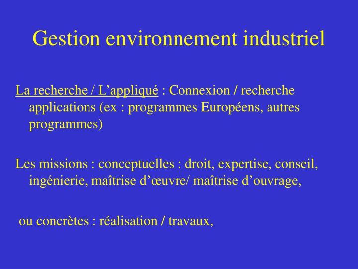 Gestion environnement industriel