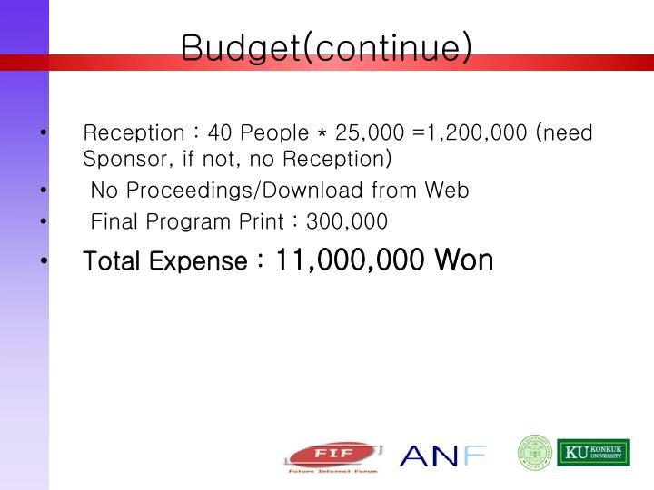 Budget(continue)