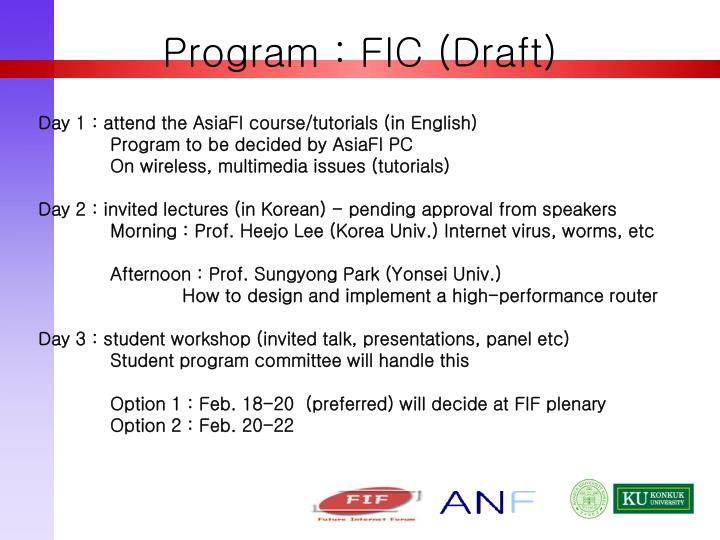 Program : FIC (Draft)