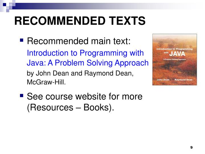 RECOMMENDED TEXTS