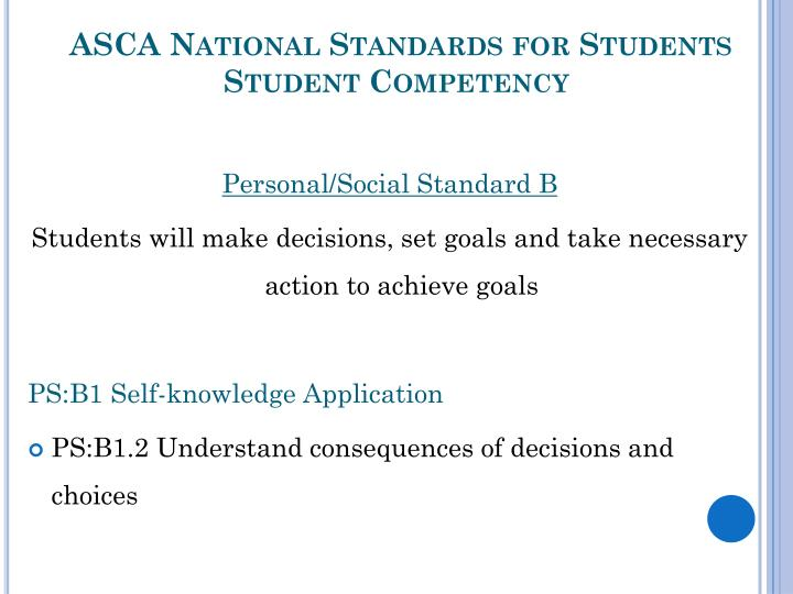 Asca national standards for students student competency