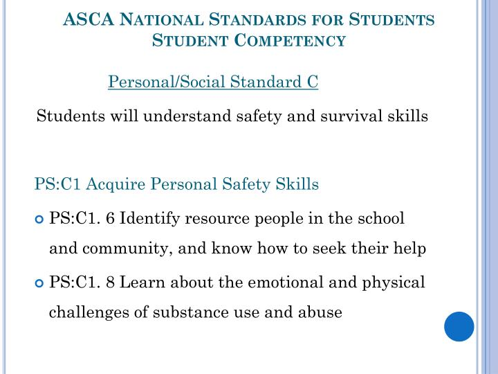 Asca national standards for students student competency1