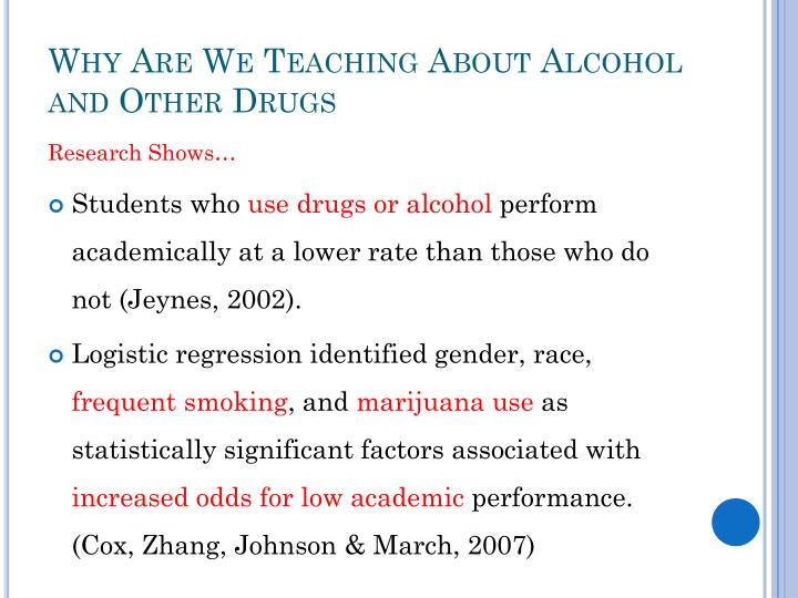 Why Are We Teaching About Alcohol and Other Drugs