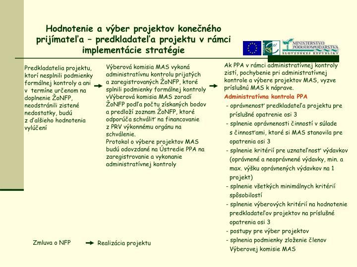 Hodnotenie avýber projektov konečného prijímateľa – predkladateľa projektu vrámci implementácie stratégie