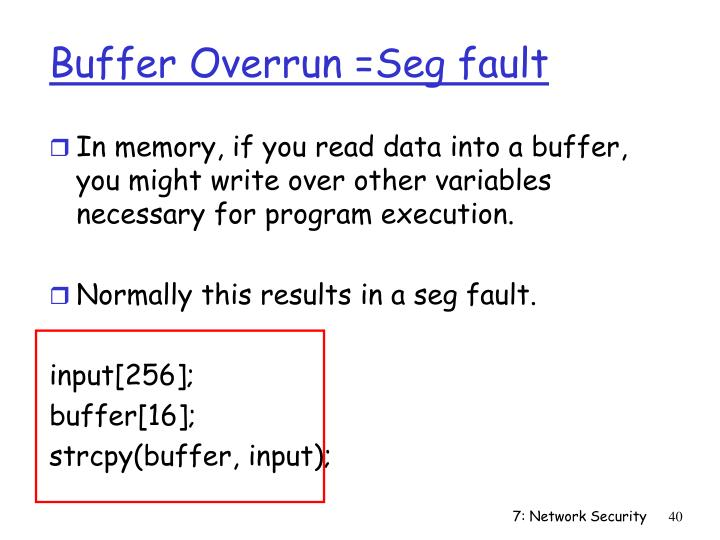 Buffer Overrun =Seg fault