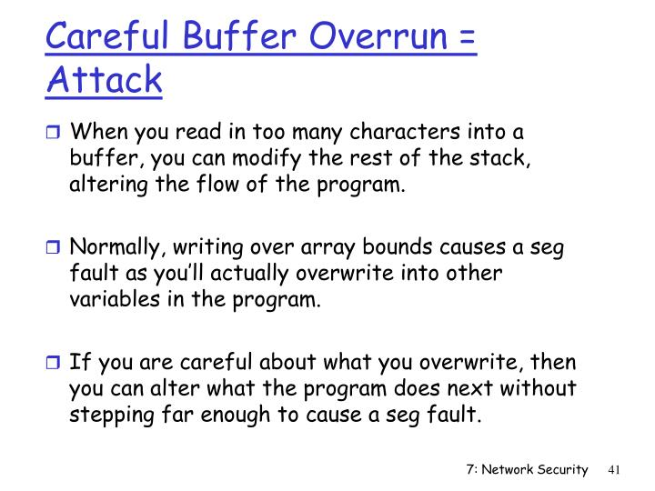 Careful Buffer Overrun = Attack