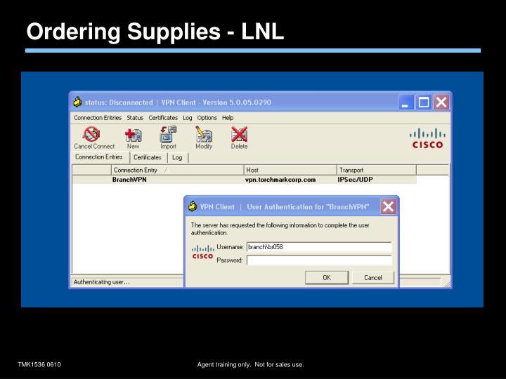 Ordering Supplies - LNL