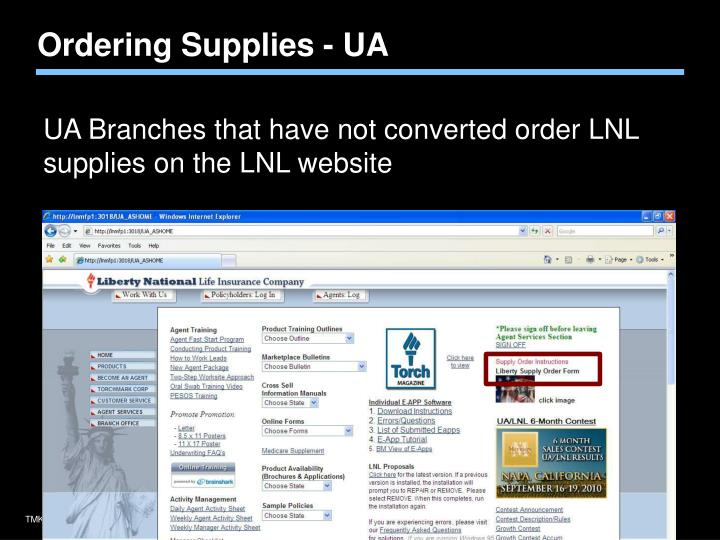 Ordering Supplies - UA