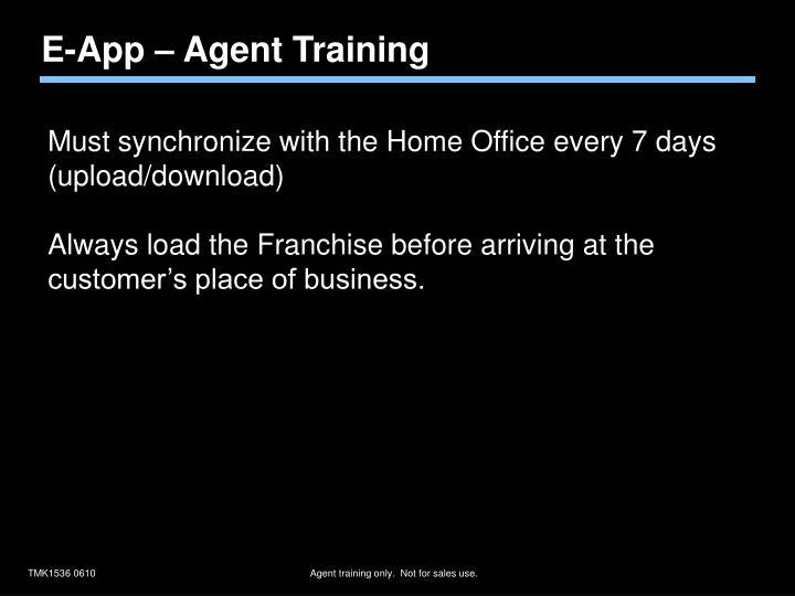 E-App – Agent Training