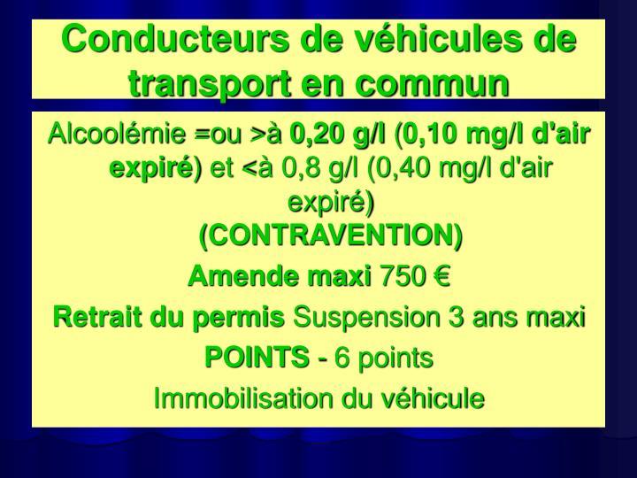Conducteurs de véhicules de transport en commun