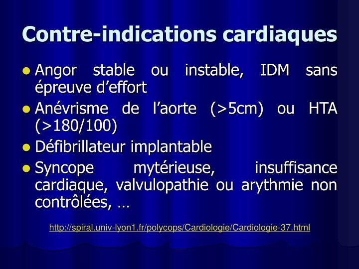 Contre-indications cardiaques