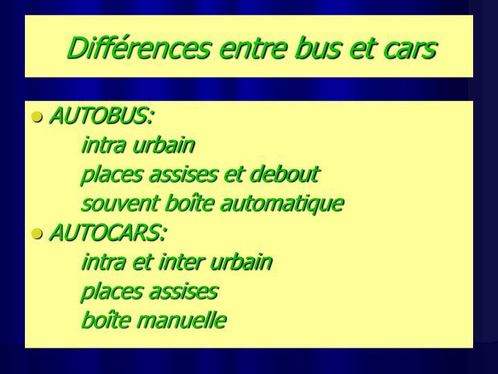 Différences entre bus et cars