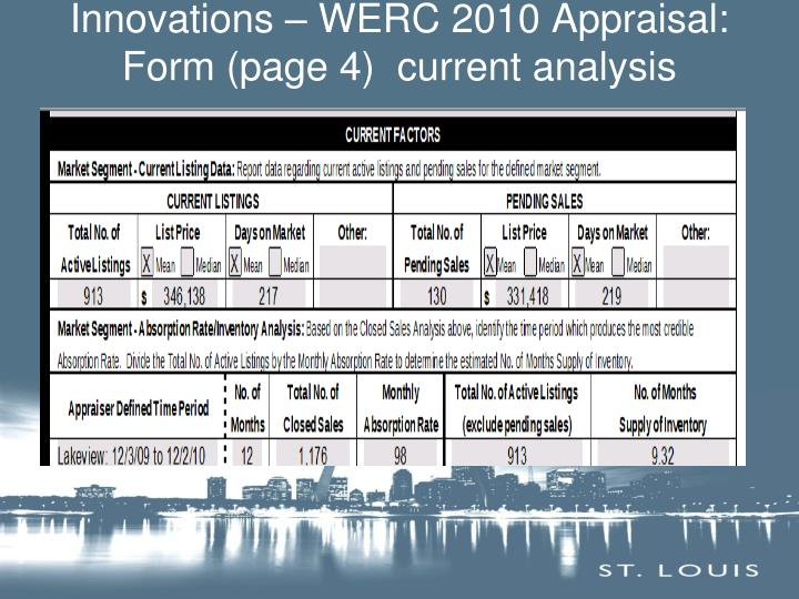 Innovations – WERC 2010 Appraisal: Form (page 4)  current analysis