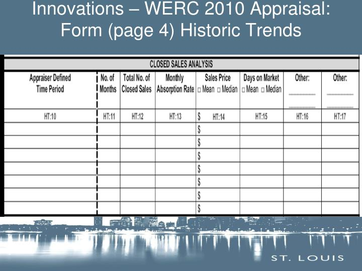 Innovations – WERC 2010 Appraisal: Form (page 4) Historic Trends