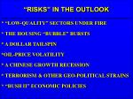 risks in the outlook