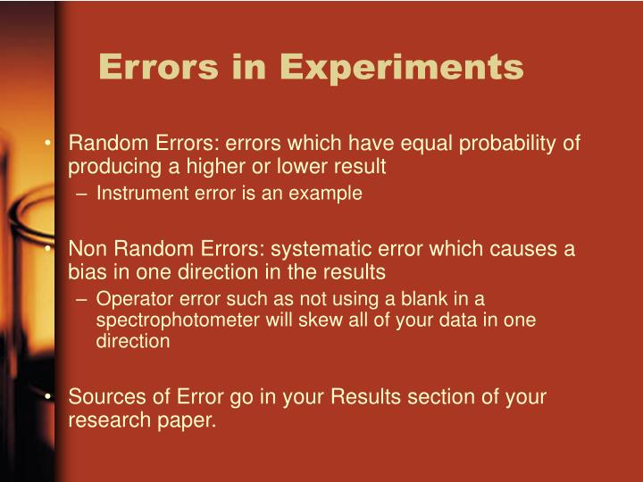 Errors in Experiments