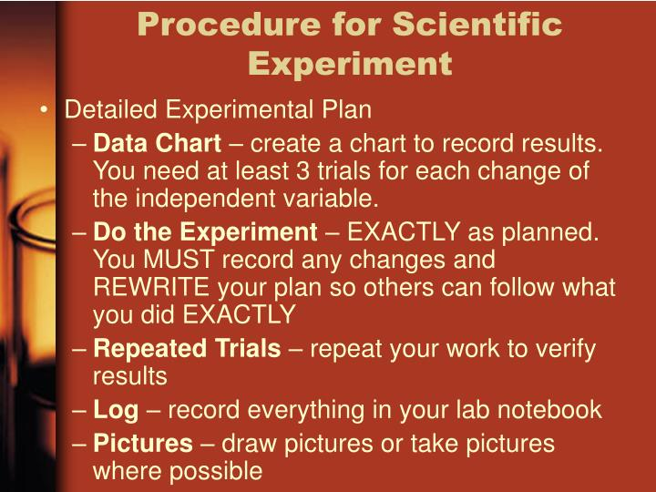 Procedure for Scientific Experiment