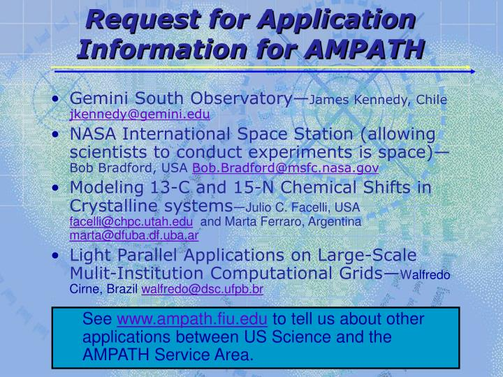 Request for Application Information for AMPATH