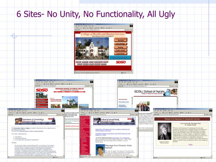 6 Sites- No Unity, No Functionality, All Ugly