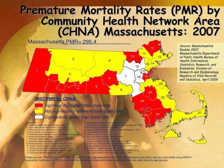 Premature Mortality Rates (PMR) by Community Health Network Area (CHNA) Massachusetts: 2007